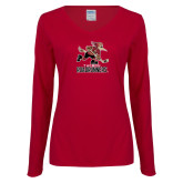 Ladies Cardinal Long Sleeve V Neck T Shirt-Official Logo