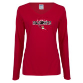 Ladies Cardinal Long Sleeve V Neck T Shirt-Tucson Roadrunners Stacked