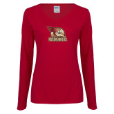 Ladies Cardinal Long Sleeve V Neck T Shirt-Badge Design