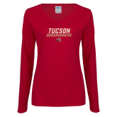 Ladies Cardinal Long Sleeve V Neck T Shirt-Tuscon Roadrunners - Lines