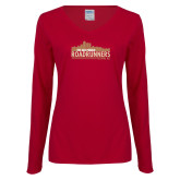 Ladies Cardinal Long Sleeve V Neck T Shirt-The Old Pueblo