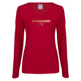 Ladies Cardinal Long Sleeve V Neck T Shirt-Go Roadrunners