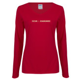 Ladies Cardinal Long Sleeve V Neck T Shirt-Crossed Hockey Sticks