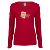 Ladies Cardinal Long Sleeve V Neck T Shirt-Tuscon Roadrunners Hockey w/ State