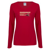 Ladies Cardinal Long Sleeve V Neck T Shirt-Roadrunners Hockey Stacked