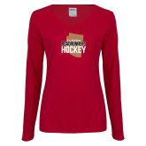 Ladies Cardinal Long Sleeve V Neck T Shirt-Tuscon Roadrunners Hockey w/ State Stacked