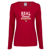 Ladies Cardinal Long Sleeve V Neck T Shirt-Real Women Watch Hockey