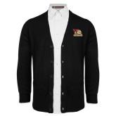 Black V Neck Cardigan w/Pockets-Badge Design