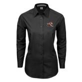 Ladies Black Tonal Pattern Long Sleeve Shirt-Mascot