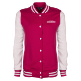 Ladies Pink Raspberry/White Fleece Letterman Jacket-Tucson Roadrunners