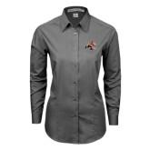 Ladies Grey Tonal Pattern Long Sleeve Shirt-Mascot