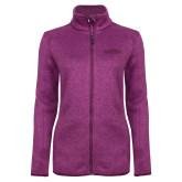 Dark Pink Heather Ladies Fleece Jacket-Tucson Roadrunners