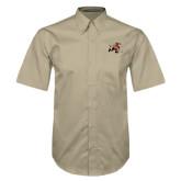 Khaki Twill Button Down Short Sleeve-Mascot