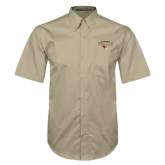 Khaki Twill Button Down Short Sleeve-Tucson Roadrunners Stacked