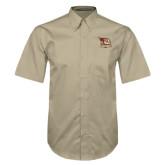 Khaki Twill Button Down Short Sleeve-Badge Design
