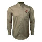Khaki Twill Button Down Long Sleeve-Mascot