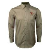 Khaki Twill Button Down Long Sleeve-Badge Design