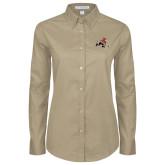 Ladies Khaki Twill Button Down Long Sleeve-Mascot