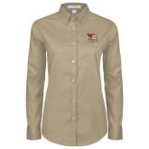 Ladies Khaki Twill Button Down Long Sleeve-Badge Design