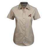 Ladies Khaki Twill Button Up Short Sleeve-Mascot