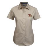 Ladies Khaki Twill Button Up Short Sleeve-Badge Design