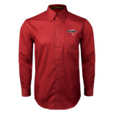 Cardinal Twill Button Down Long Sleeve-Tucson Roadrunners Stacked