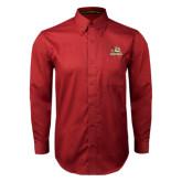 Cardinal Twill Button Down Long Sleeve-Badge Design
