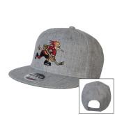 Heather Grey Wool Blend Flat Bill Snapback Hat-Mascot