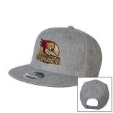 Heather Grey Wool Blend Flat Bill Snapback Hat-Badge Design
