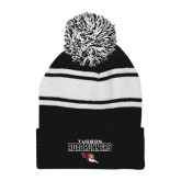 Black/White Two Tone Knit Pom Beanie with Cuff-Tucson Roadrunners Stacked