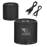 Wireless HD Bluetooth Black Round Speaker-Badge Design Engraved