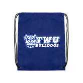 Royal Drawstring Backpack-TWU Bulldogs Stacked w/ Bulldog