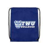 Royal Drawstring Backpack-TWU Bulldogs Stacked w/ Bulldog
