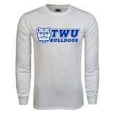 White Long Sleeve T Shirt-TWU Bulldogs Stacked w/ Bulldog