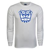White Long Sleeve T Shirt-Bulldog Head