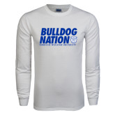 White Long Sleeve T Shirt-Bulldog Nation