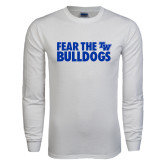 White Long Sleeve T Shirt-Fear The Bulldogs