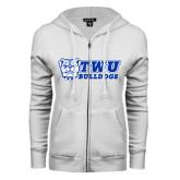 ENZA Ladies White Fleece Full Zip Hoodie-TWU Bulldogs Stacked w/ Bulldog