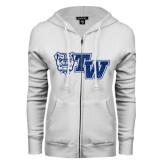 ENZA Ladies White Fleece Full Zip Hoodie-Official Logo Dark Blue Glitter