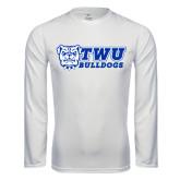 Performance White Longsleeve Shirt-TWU Bulldogs Stacked w/ Bulldog