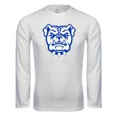 Syntrel Performance White Longsleeve Shirt-Bulldog Head