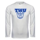 Performance White Longsleeve Shirt-TWU w/ Bulldog Head