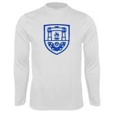 Performance White Longsleeve Shirt-University Crest