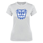 Ladies Syntrel Performance White Tee-Bulldog Head