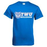 Royal Blue T Shirt-TWU Bulldogs Stacked w/ Bulldog
