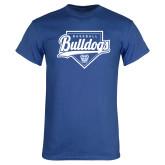 Royal Blue T Shirt-Bulldogs Baseball Script w/ Plate