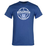 Royal T Shirt-Bulldogs Basketball Arched w/ Ball