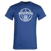 Royal Blue T Shirt-Bulldogs Basketball Arched w/ Ball