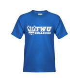 Youth Royal T Shirt-TWU Bulldogs Stacked w/ Bulldog