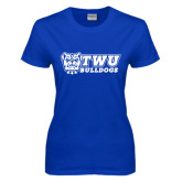 Ladies Royal T Shirt-TWU Bulldogs Stacked w/ Bulldog